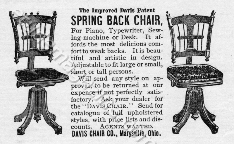 The Improved Davis Patent SPRING BACK CHAIR.