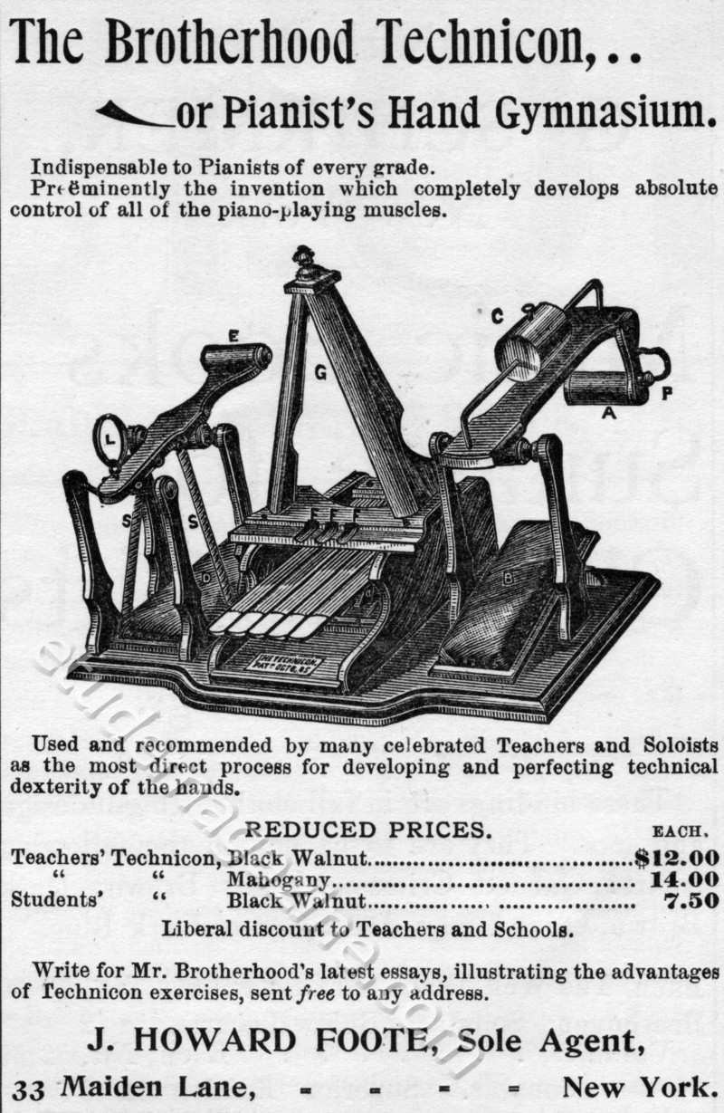 The Brotherhood Technicon, or Pianist's Hand Gymnasium. December, 1897