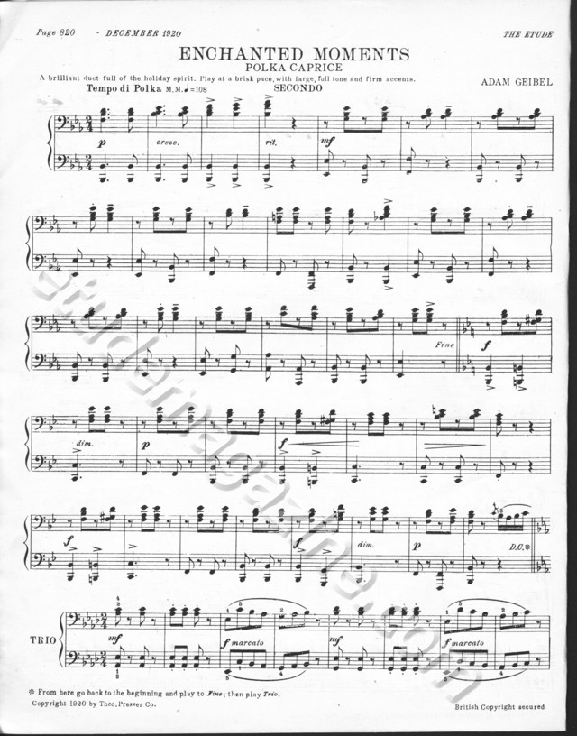 Enchanted Moments (Polka Caprice), for piano 4-hands. Adam Geibel.